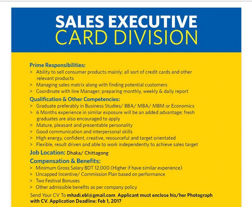 Eastern Bank Ltd Position Sales Executive, Card