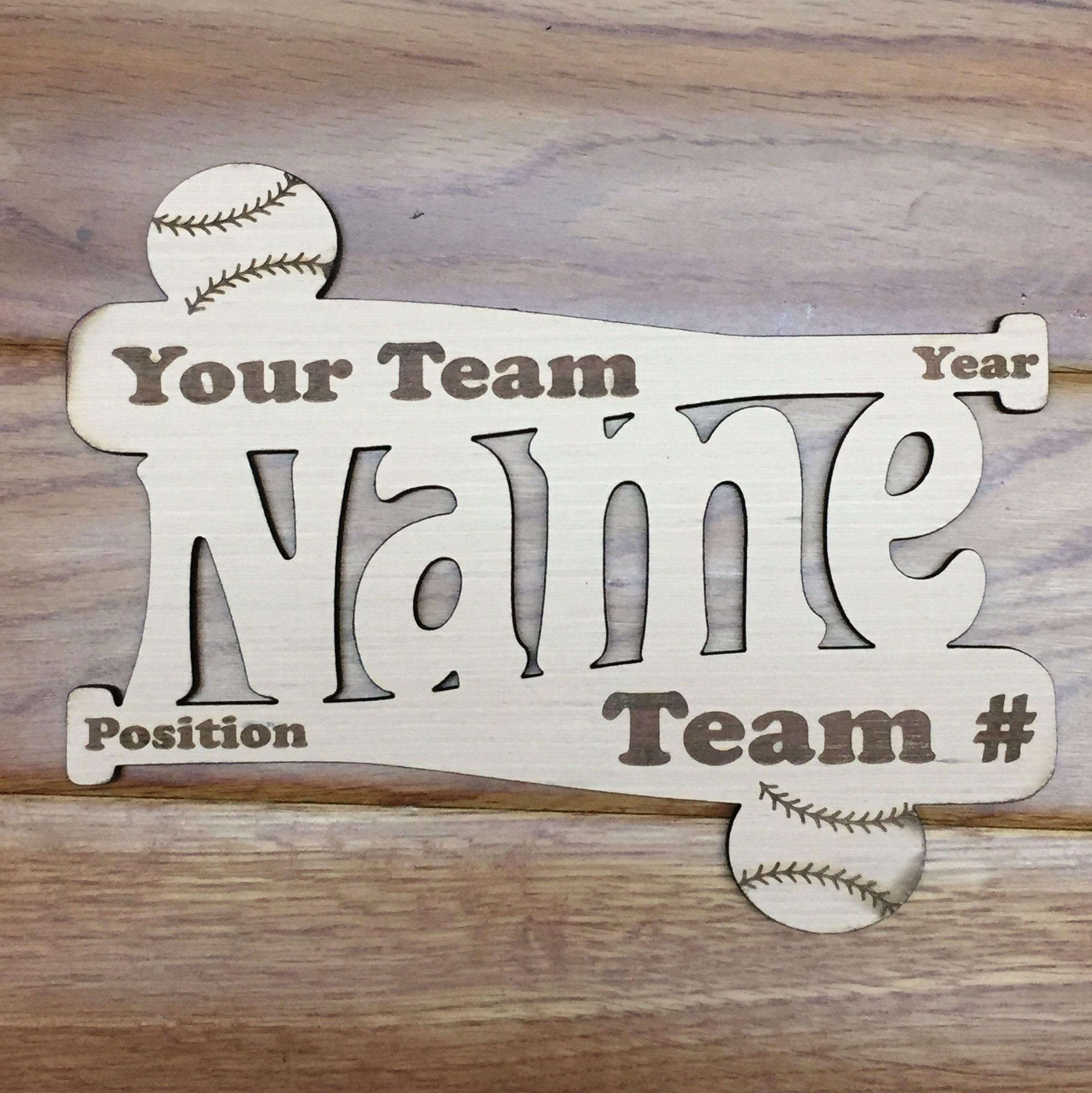 Baseball Bat Wood Personalized Monogram Sign Unfinished Cut Out Craft Supplies Ready To Paint Laser Cuts Custom Engraving Shapes By