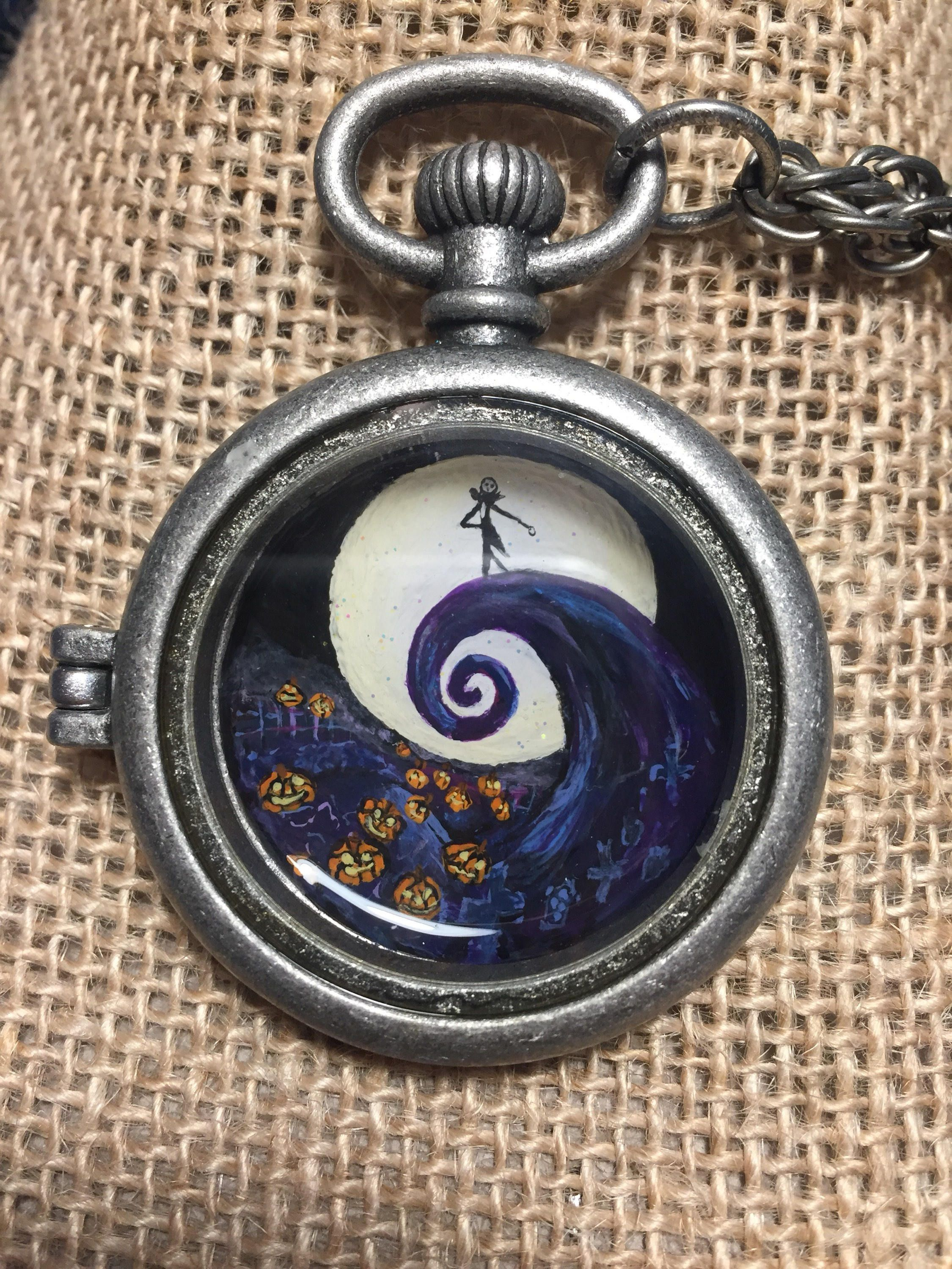 Nightmare Before Christmas Hand painted Pocket Watch Necklace ...
