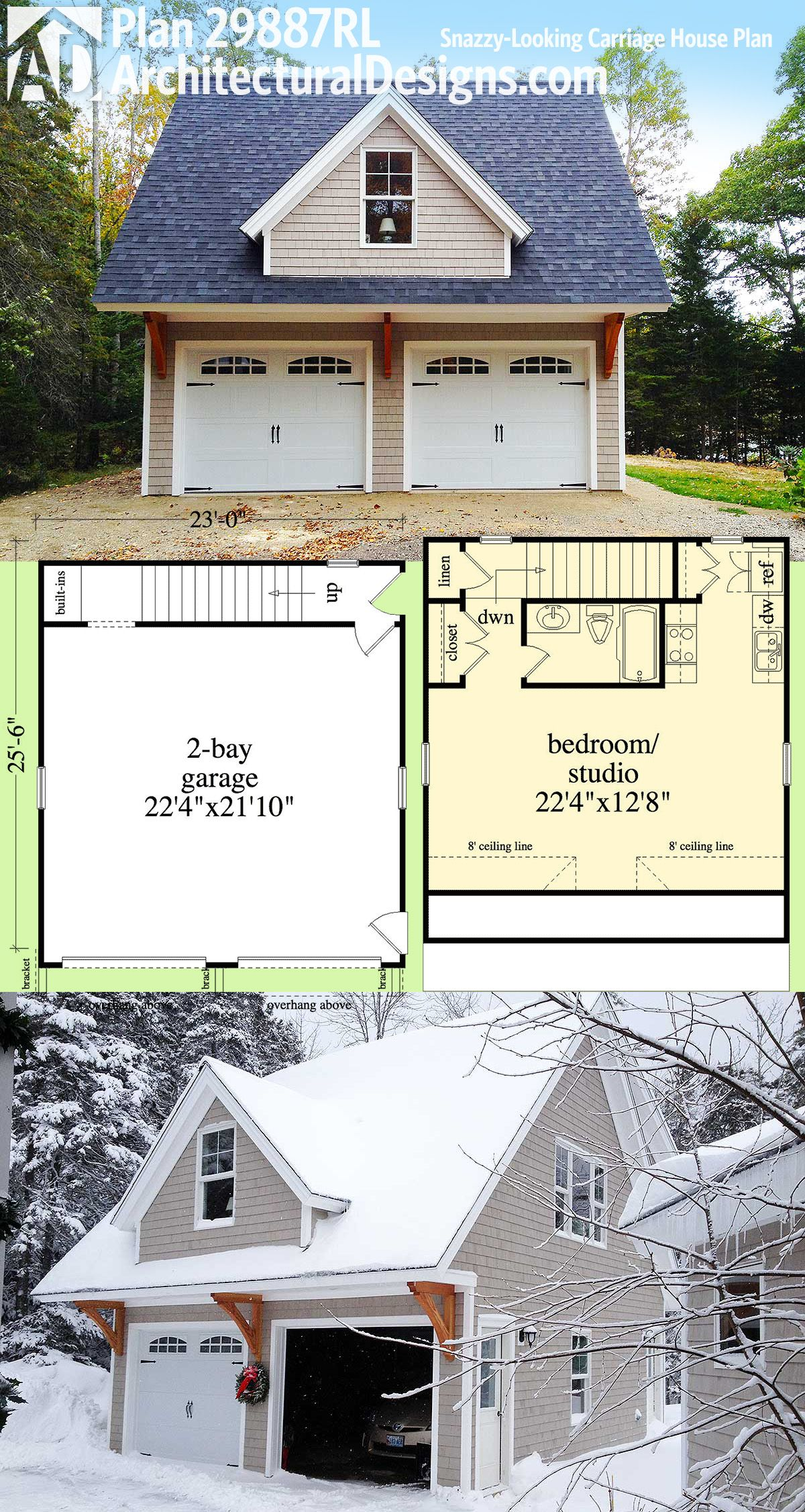 Plan 29887rl snazzy looking carriage house plan for Small house plans with 2 car garage