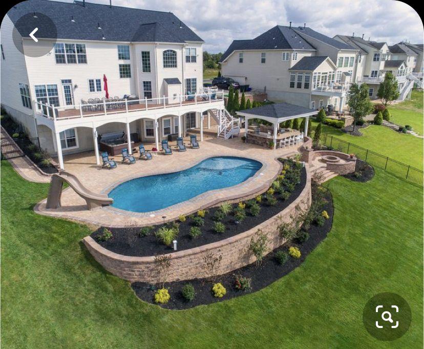Pin By Jonathan Ledbetter On Outdoor Ideas In 2020 Pools Backyard Inground Backyard Pool Landscaping Inground Pool Landscaping