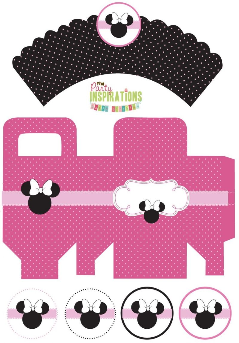 Free Minnie Mouse Party Printablescupcake wrappers, favor boxes