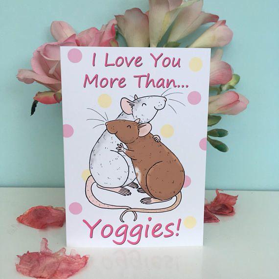 i love you more than yoggies funny pet rat blank greeting