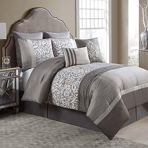 Arcadia 8 Piece Comforter Set In Taupe Ivory Comforter Sets Ruched Bedding Bedding Sets