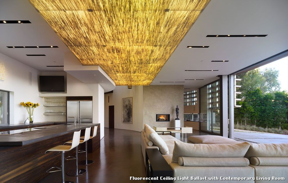 Fluorescent Ceiling Light Ballast With Contemporary Living Room Kitchen Lighting From