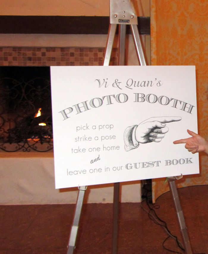 Personalized Wedding Photo Booth Sign  White/Black/Vintage