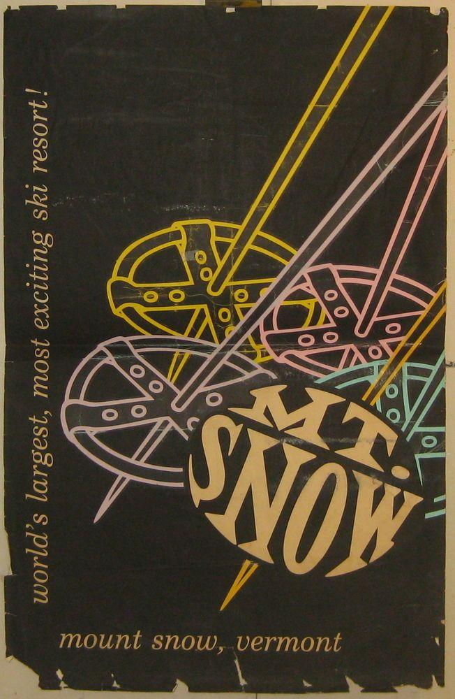 Rare Vintage MOUNT MT SNOW VERMONT SKI RESORT Travel Poster -Black Light? Skiing