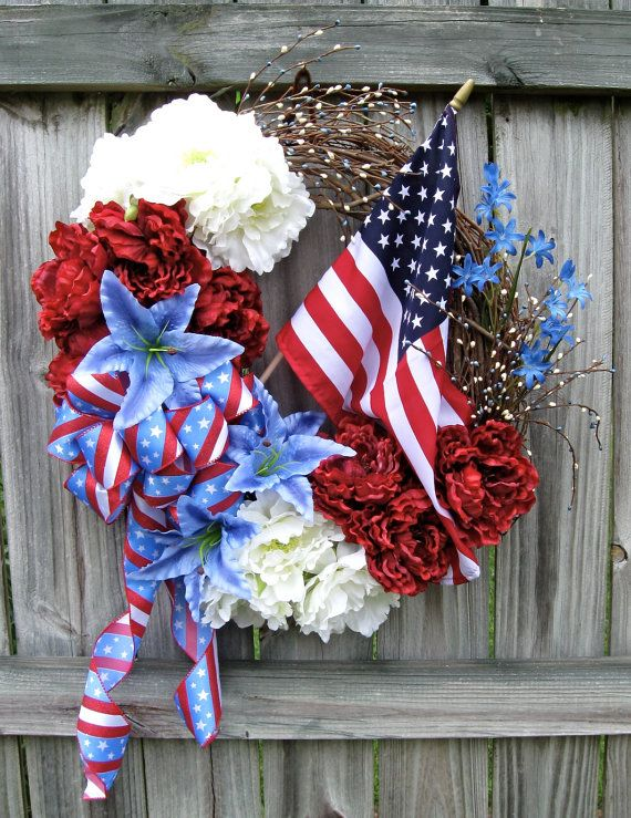 Patriotic 4th of July, Veterans Day Wreath by IrishGirlsWreaths