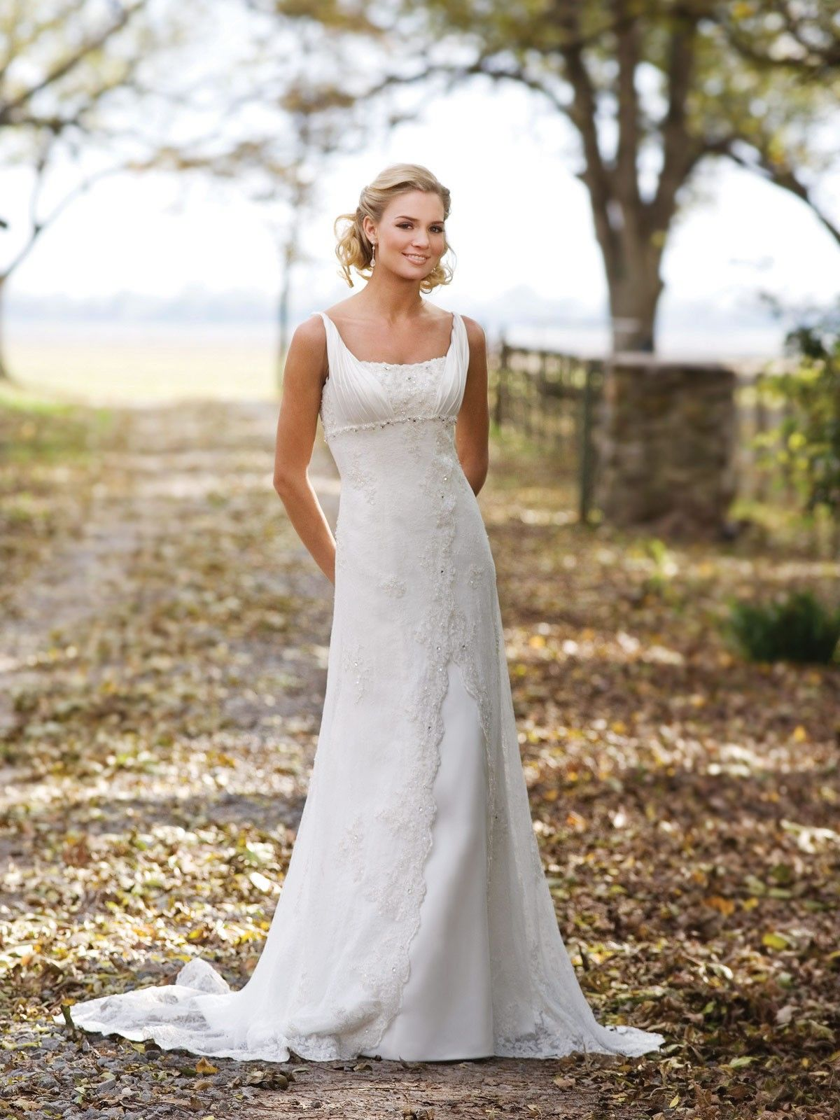 Satin square neckline chantilly beaded bodice aline wedding dress