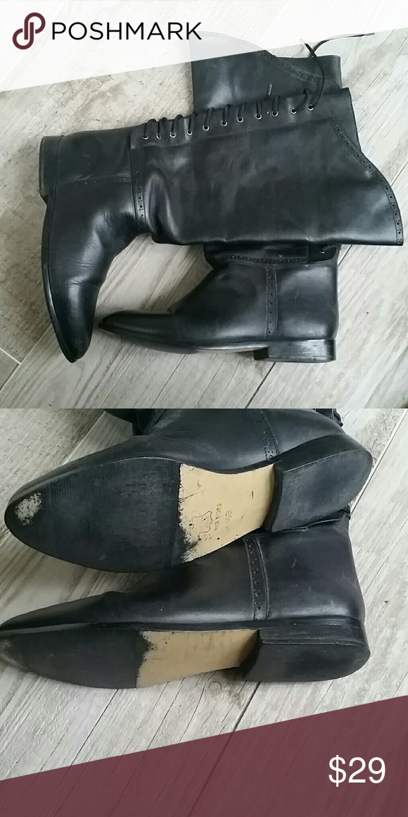 Vintage Victorian leather boots Women's size 10 boots.  Normal calf.  Lace-up back.  Worn only one time.  No wear.  Price is firm. Shoes Lace Up Boots