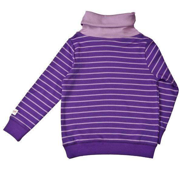 People Wear Organic Sweatshirt - Dunkel Violett Geringelt