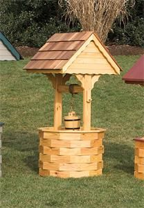 Amish Outdoor Wooden Wishing Well with Cedar Roof - XX