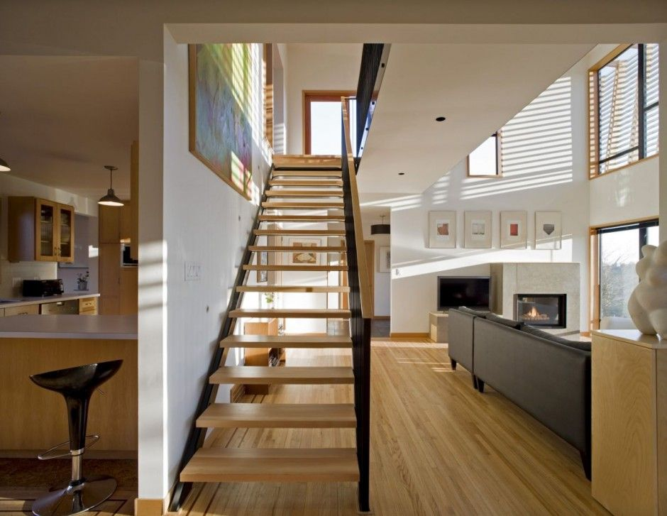 Contemporary House Interior. 1950 s Interior Staircase  could add to sunroom leading up loft studio door