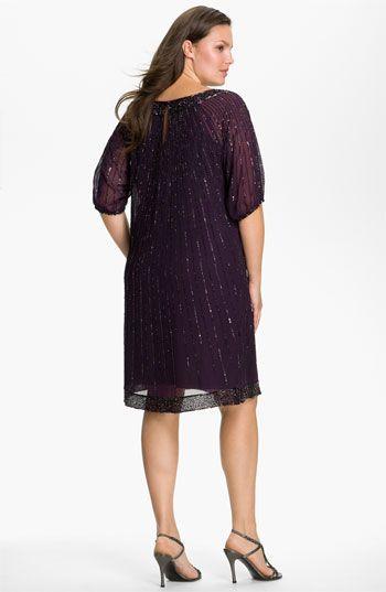 Plus Size Women\'s J Kara Sequin Chiffon Shift Dress