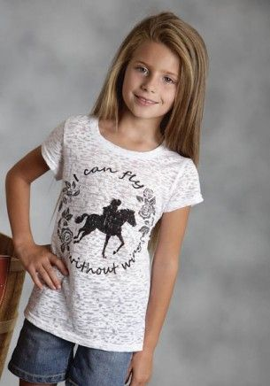 """Just what every horse crazy young lady needs -   """"I can Fly without wings"""" t-shirt Saddle Up : Girls Burnout Jersey Tee"""