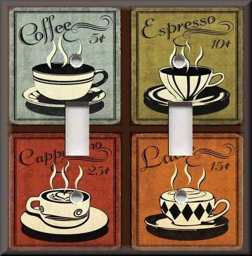 Light Switch Plate Cover Vintage Cafe Coffee For Multi Colored Decor