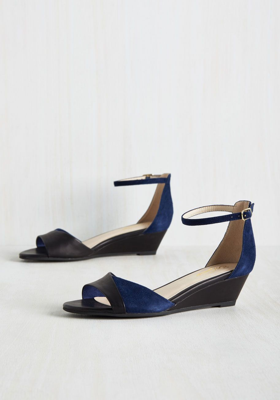 5a5b9b4efdf Coalition Leather Wedge in Navy. The luxe elements of these leather ...