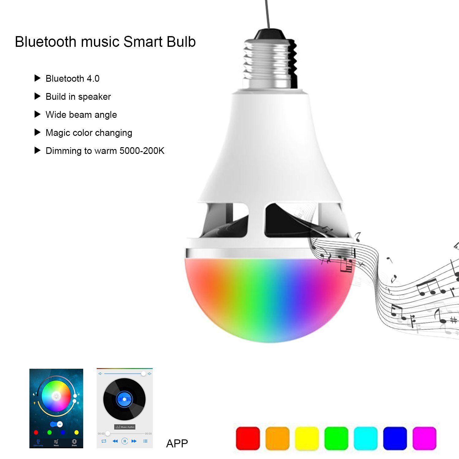 Amazon Com Sweetlf Led Bluetooth Speaker Light Bulb E27