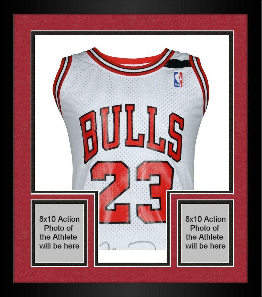 Framed michael jordan chicago bulls signed 1992 white mn