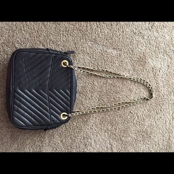 Talbots Black leather chain hand bag God condition leather long chain shoulder bag black and gold Talbots Bags Shoulder Bags