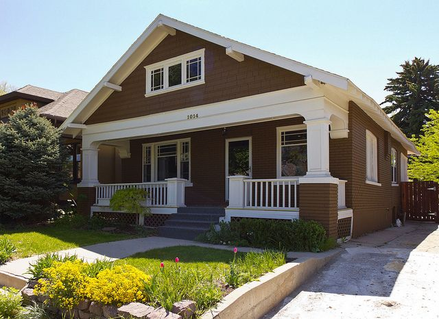 White brown brick craftsman bungalow house by photo dean - Brown house with white trim ...