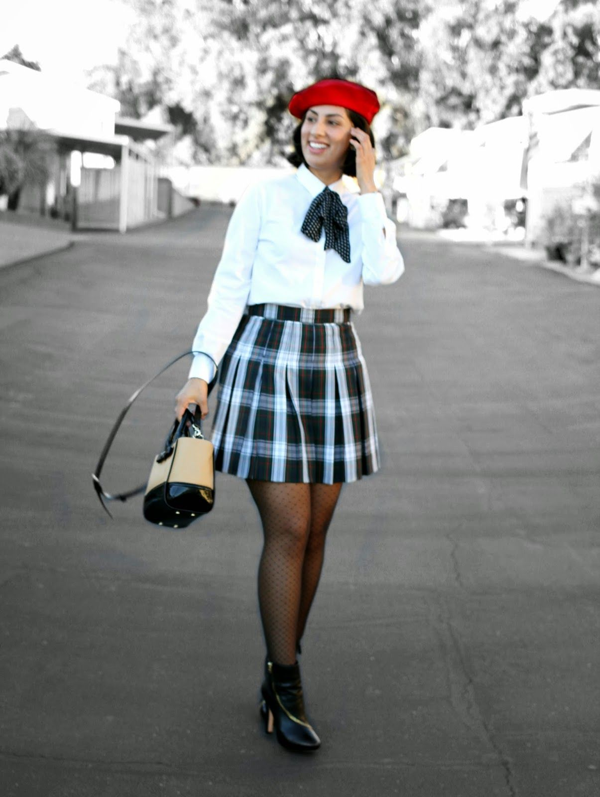 Rocks Fashion Bug: Holiday Smile Style School uniform inspired look. Holiday tradition of plaid and berets