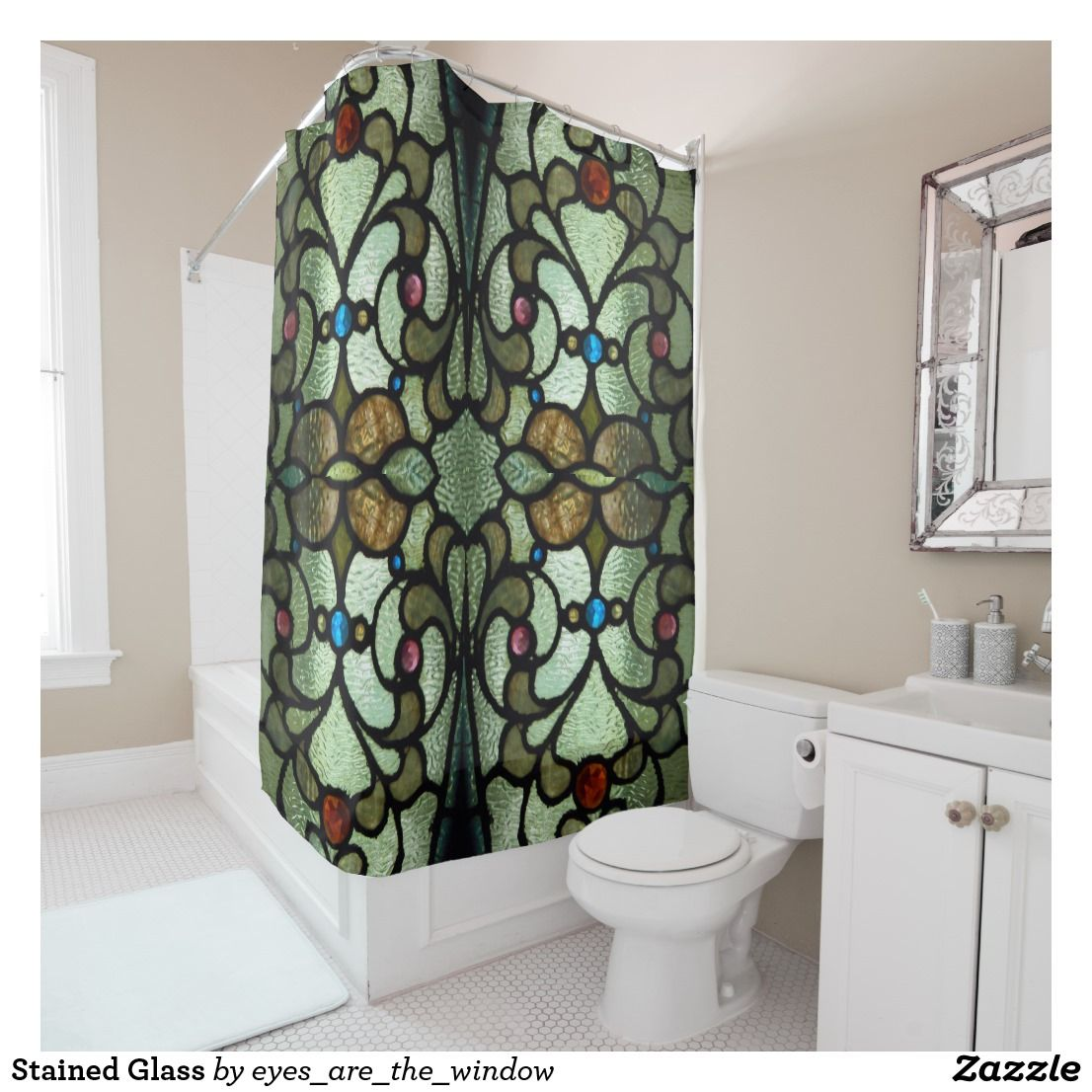Stained Glass Shower Curtain Zazzle Com Glass Shower Fabric