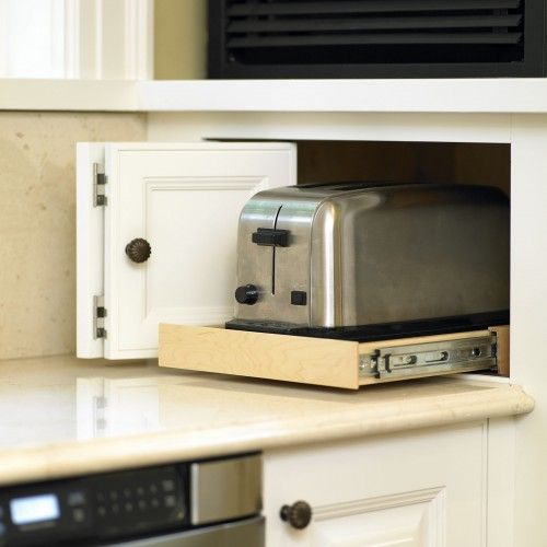 Hideaway Storage For Counter Appliances Corner Kitchen Cabinet Appliance Garage Kitchen Storage