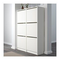 white 135 x 49 cm dimensions color IKEA-BISSA-Shoe cabinet with 3 compartments