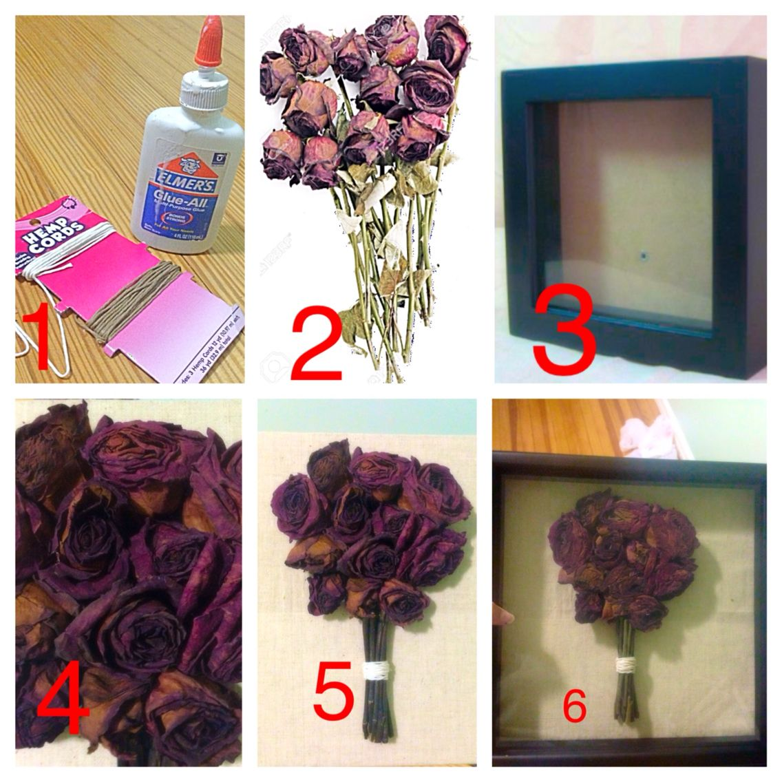 DIY Dried Roses in Shadow Box Bouquet Style … Dried