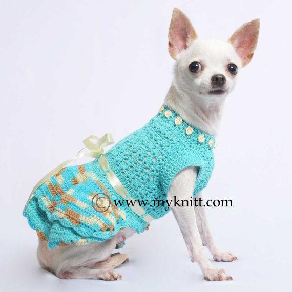 Turquoise Belle Dog Dress Ball Gown Handmade Crochet Pet | pet ...