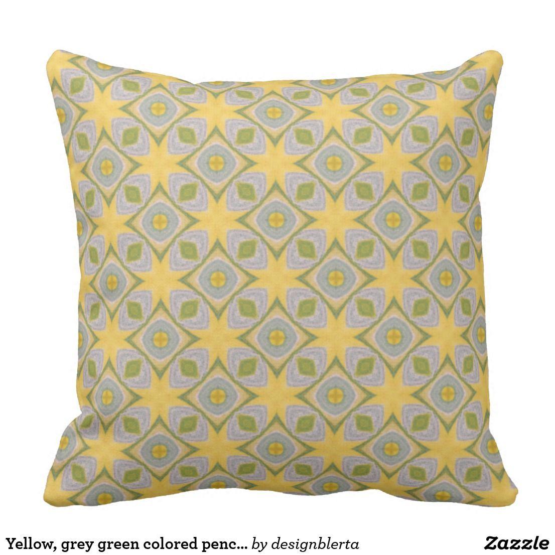 Yellow grey green colored pencil b cushion pinterest gray green
