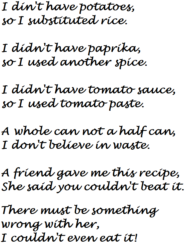 Recipe Exchange Poem Too Funny Recipe Cards Funny Items Poems