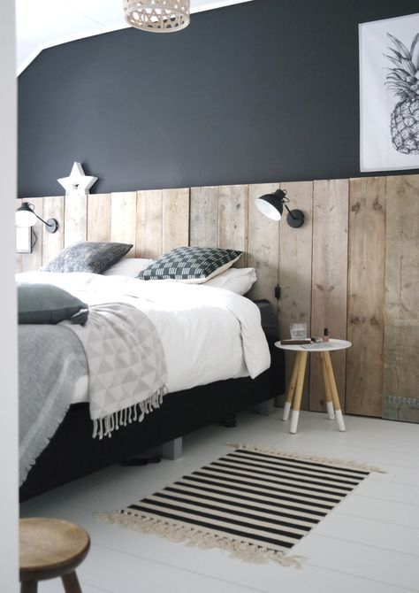 Slaapkamer Stijl Habitat wand steigerhout, zwart, antraciet, wit ...