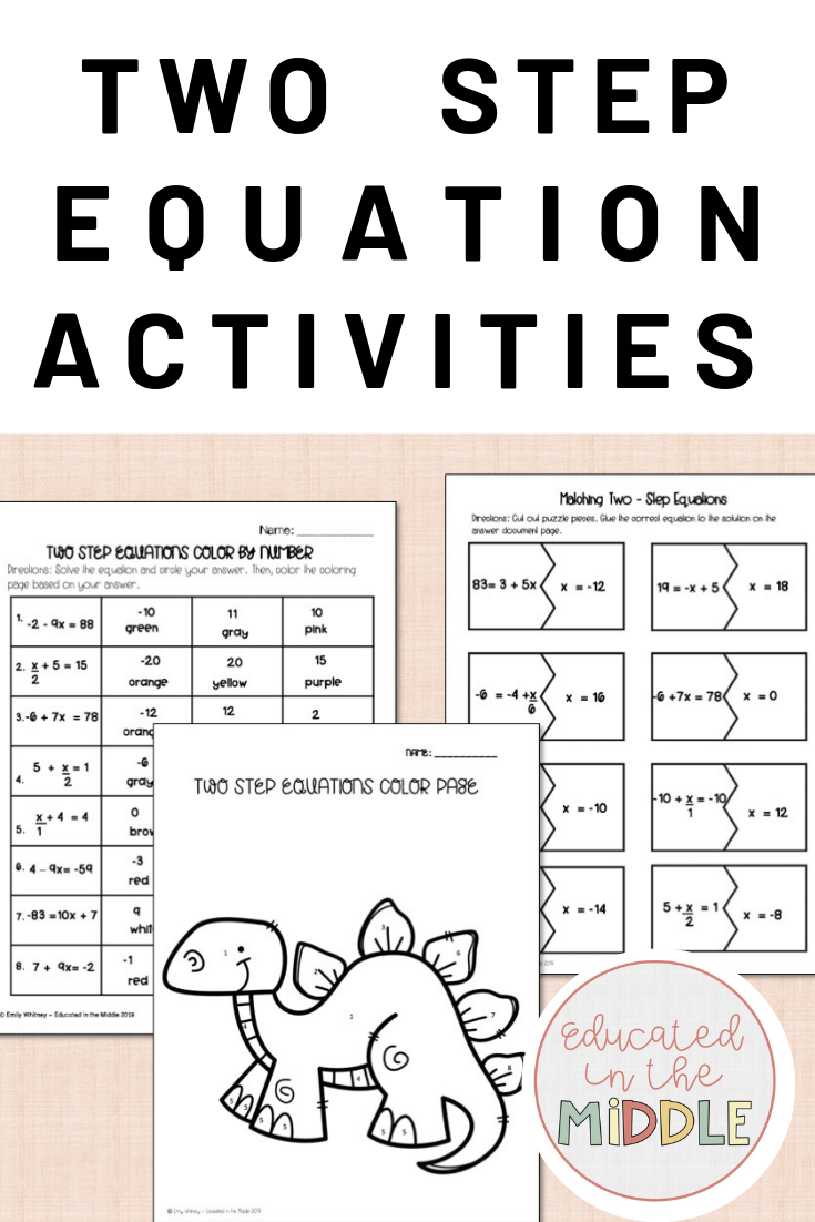 Two Step Equation Activities Two step equations, 7th