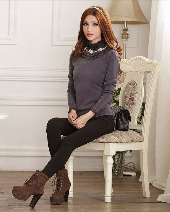 Velvet turtleneck sweater, fashion thin gery velvet sweater,lace ...