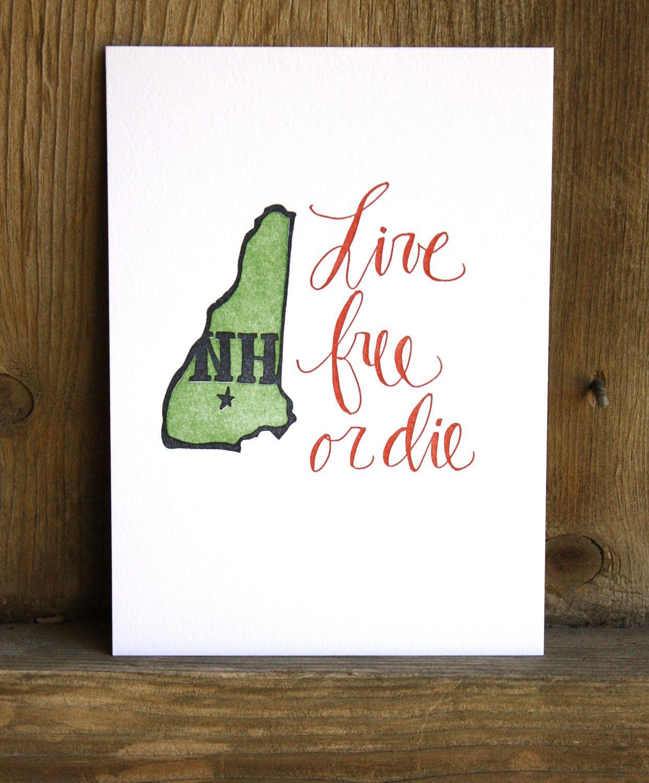 New Hampshire Letterpress State Print // 1canoe2 // Hand illustrated ...