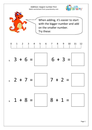 Addition: Largest Number First Addition Maths Worksheets For ...