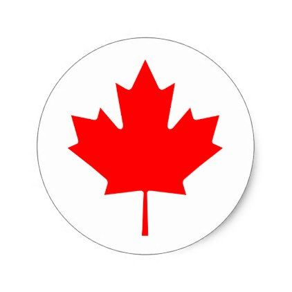 Canada red maple leaf classic round sticker red gifts color style cyo diy personalize unique