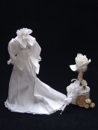 The Little Hatter - Silk Dolls House Bridal Gown