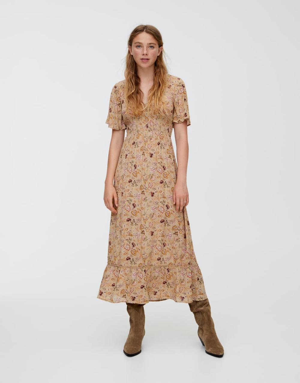 Printed Midi Dress With Shirring Pull Bear Midi Dress Printed Midi Dress Fashion