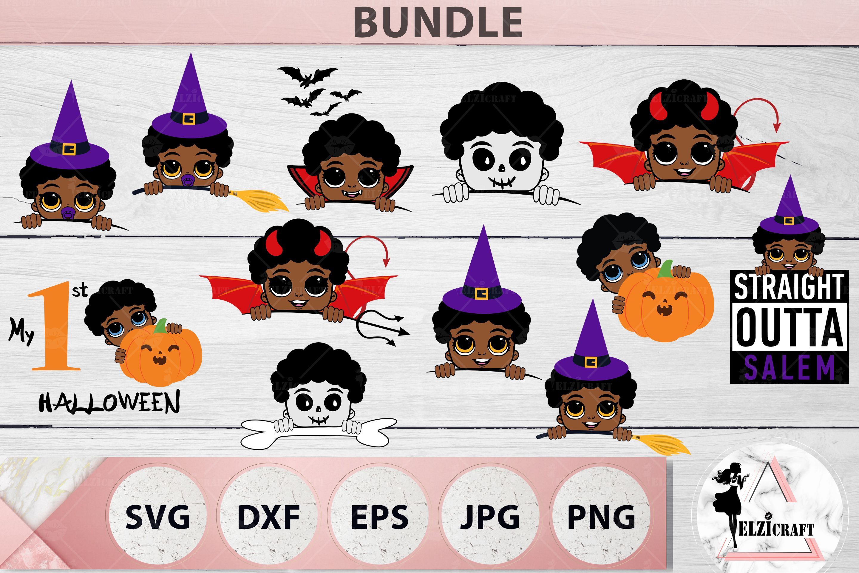 BUNDLE 12 Halloween Afro Boys SVG Files (Graphic) by elzicraft