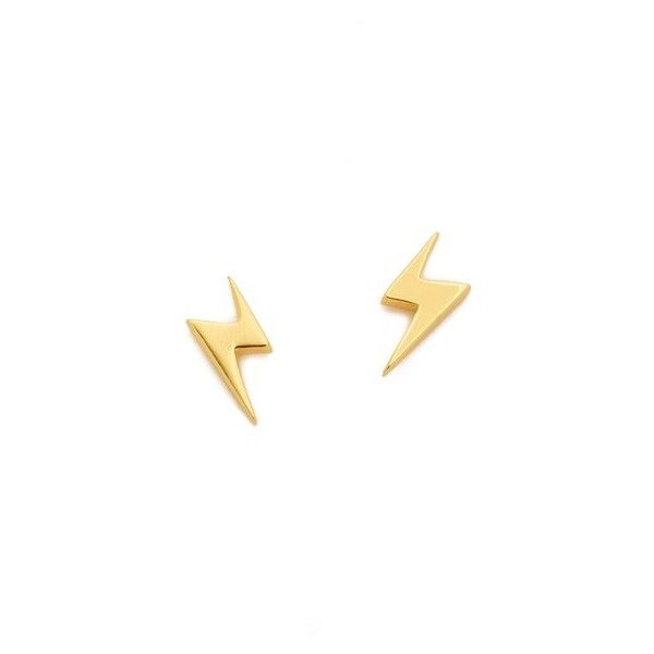 Gorjana Lightning Studs (250 CNY) ❤ liked on Polyvore featuring jewelry, earrings, gold, 18k jewelry, gorjana jewelry, gorjana earrings, 18 karat gold stud earrings and 18 karat gold earrings