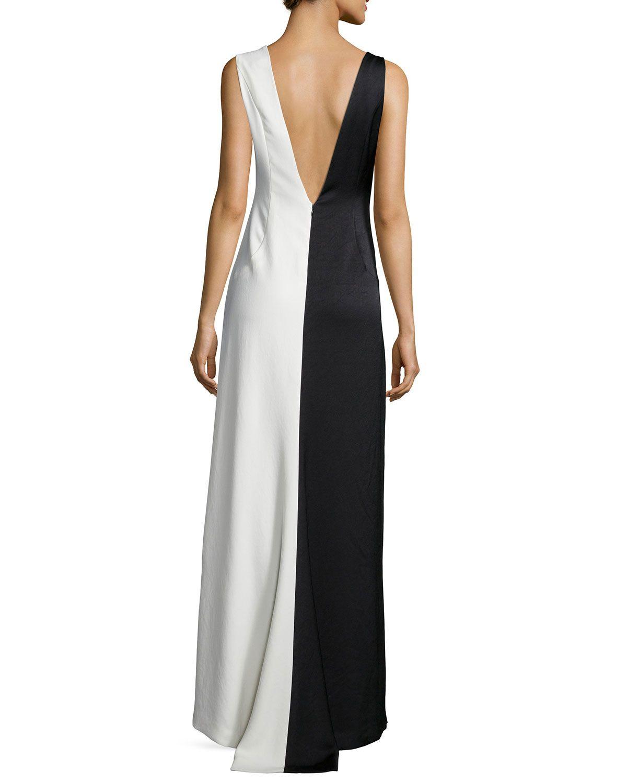 80b5661f709064 Sleeveless Two-Tone Evening Gown Chalk/Black | My Dress! | Evening ...