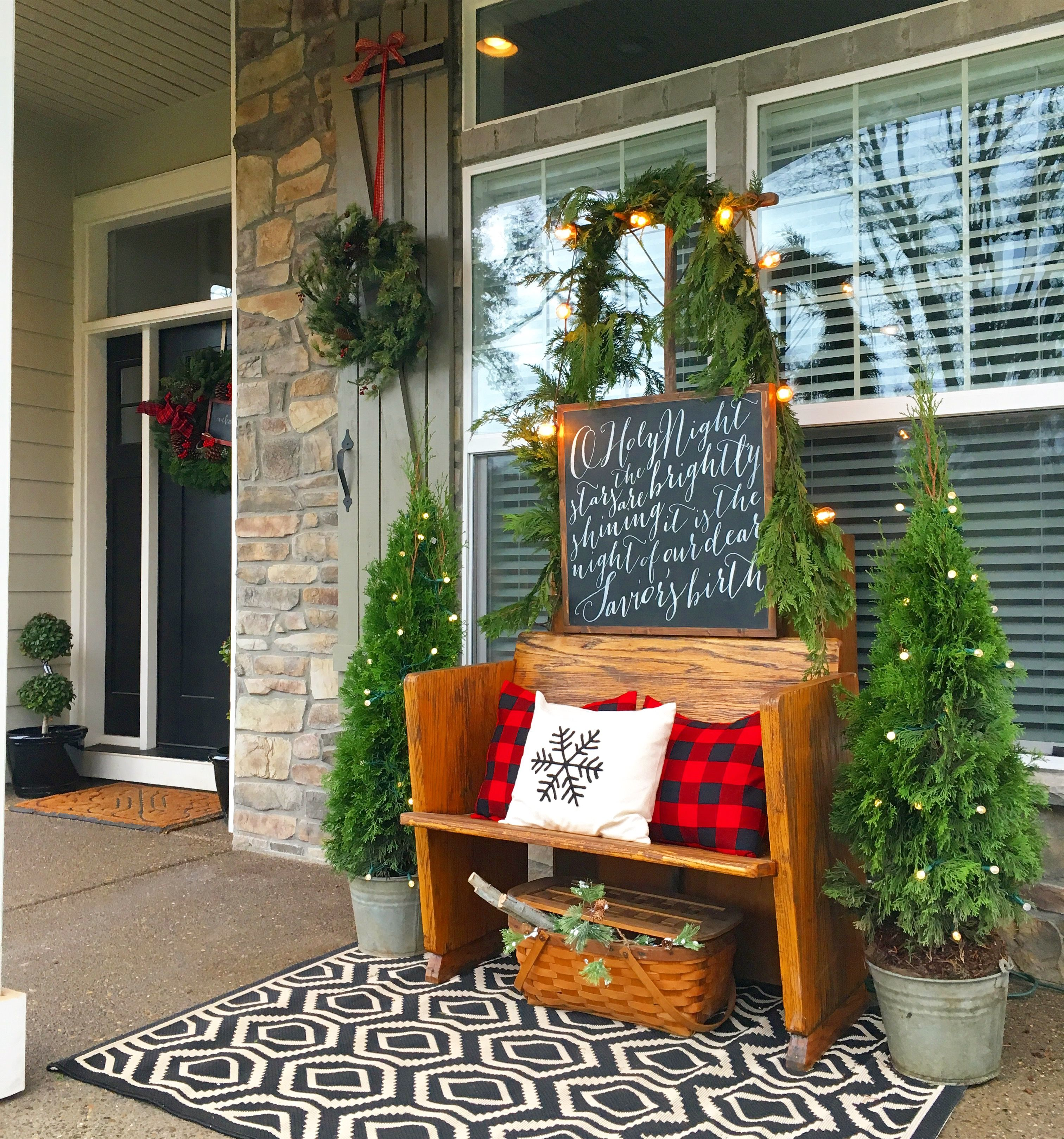 Farmhouse Front Porch Ideas: Lodge Inspired Christmas Porch