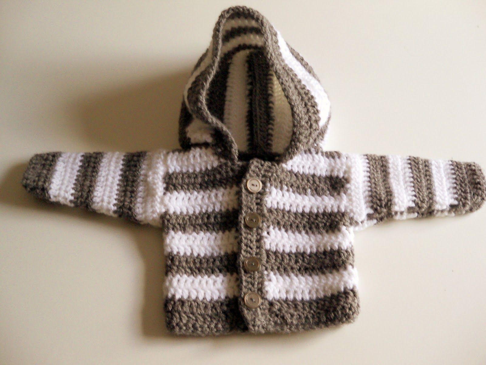 panpancrafts: Tutorial: simple crochet striped hooded baby jacket ...