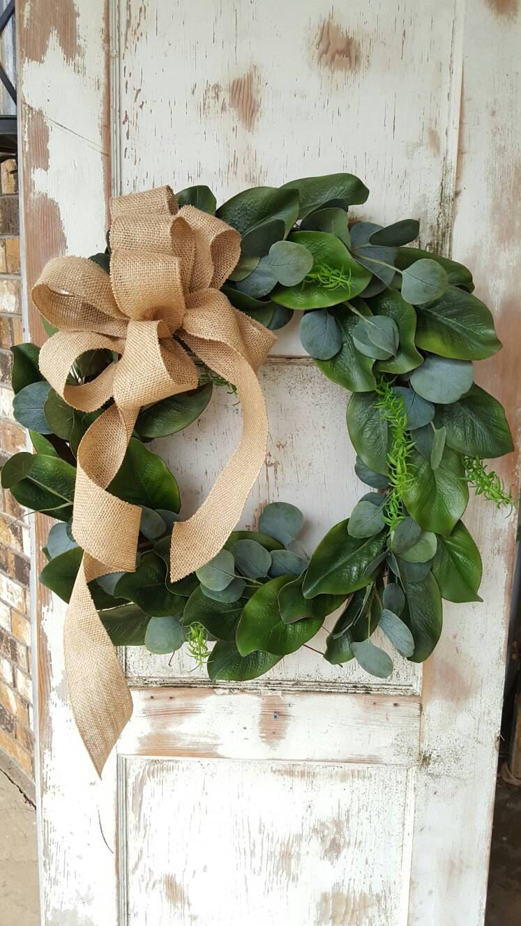 Magnolia Wreath Farmhouse Door Outdoor All Season Wreaths Housewarming Wedding Gift For Mom By