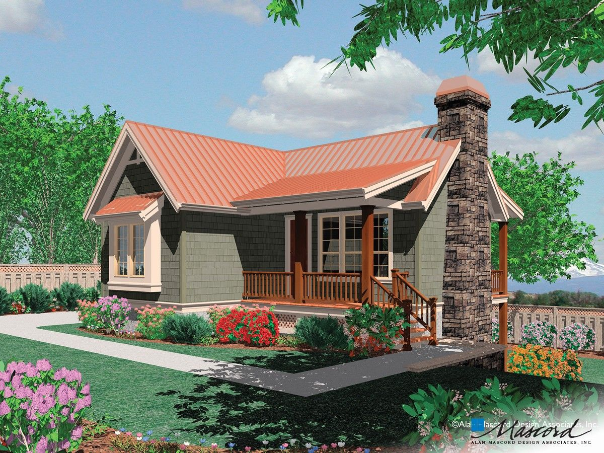 Main Floor Plan Of Mascord Plan 1166 The Dunland Single Bedroom Compact Contemporary Home Ideal For Bea Modern House Plans House Plans Coastal House Plans