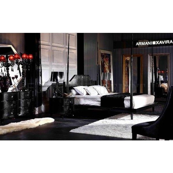 Black High Gloss Lacquer Transitional Style Bedroom Set ❤ liked on Polyvore