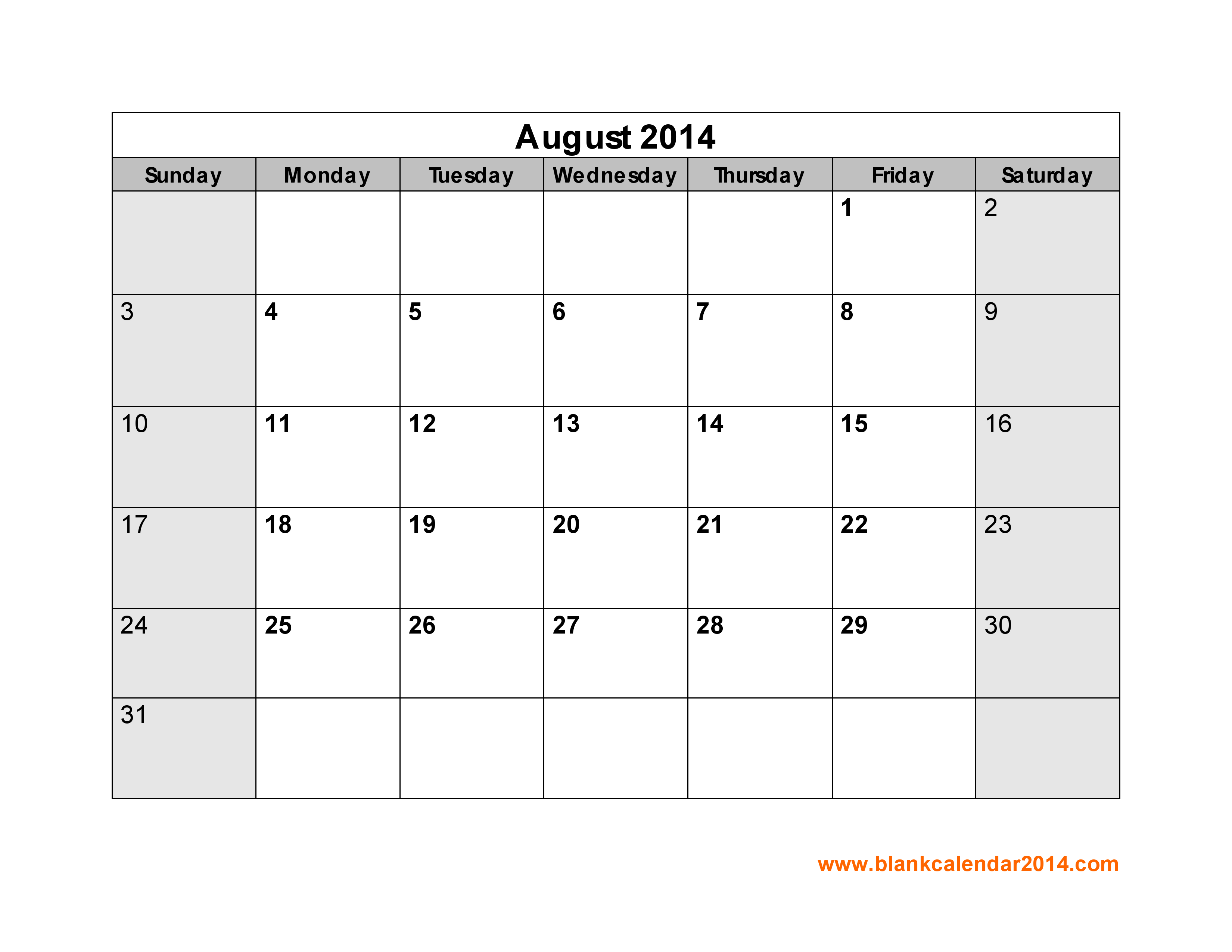 2014 Calendar With Holidays Printable August 2014 Calendar